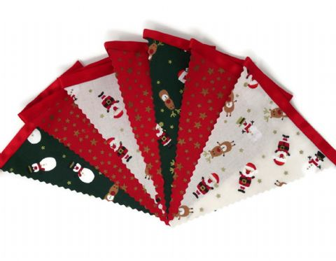 CHRISTMAS BUNTING  Stars Red - Santa Reindeer Snowman on Red Ribbon - 3m - 14 flags (single-sided)